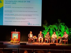Hawaiian Electric Companies at the Maui Energy Conference - March 22 - 24, 2017: Colton Ching, Hawaiian Electric Senior VP, Planning & Technology with other panelists on stage