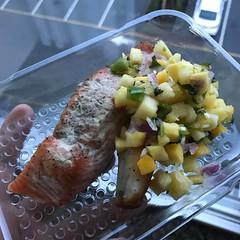 Mango pineapple salsa + lime herb smoked salmon