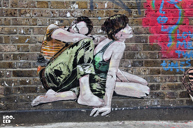 Street Art London, French artists Jana & JS Stencil Work on the streets of London
