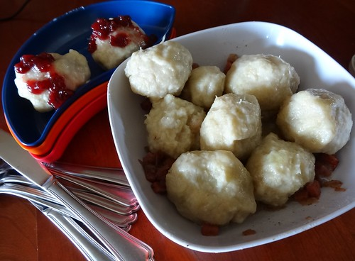 Final view of dumplings and lingonberry sauce