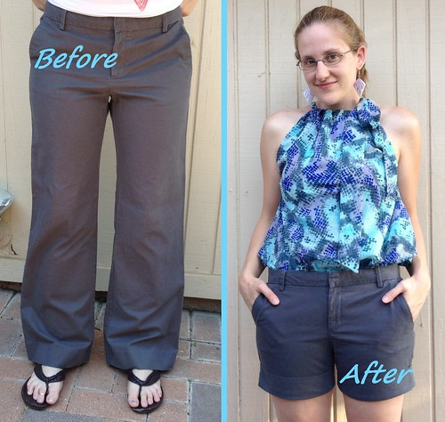 Grey Trouser Shorts - Before & After