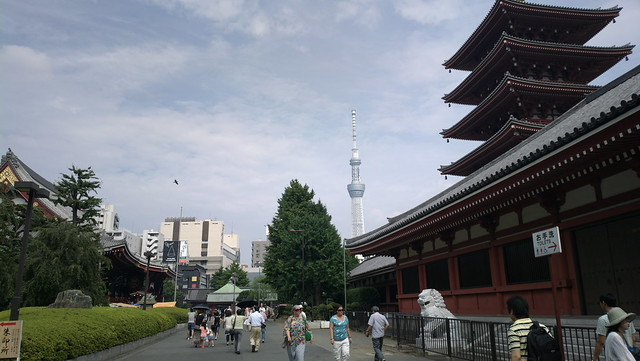 Two towees: Tokyo Sky Tree and Senso-ji temple's pagoda 34MP