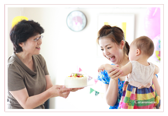 1才記念の写真 子供写真 家族写真 愛知県岡崎市