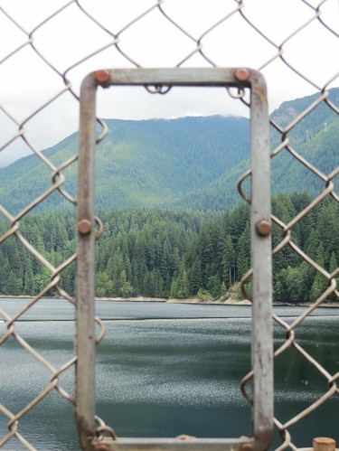 Handy viewing hole onto Capilano Reservoir