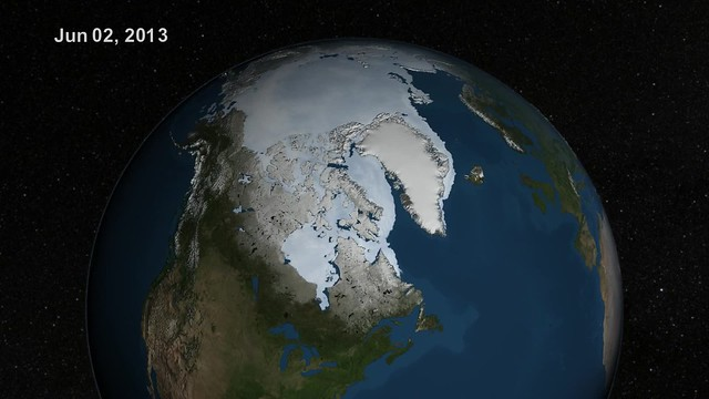 Summer Arctic Sea Ice Retreat: May - August 2013 [hd video]