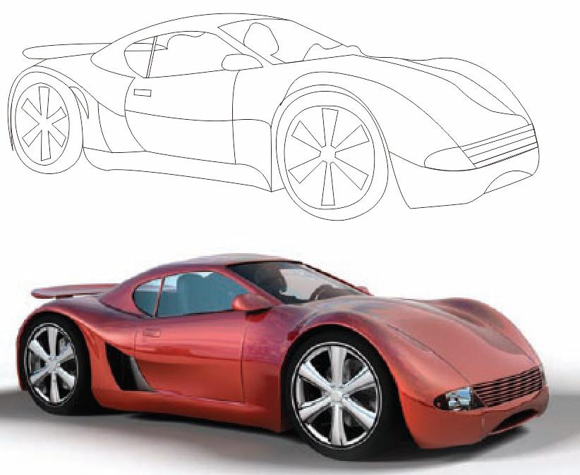 练习钢笔工具 画汽车轮廓图1