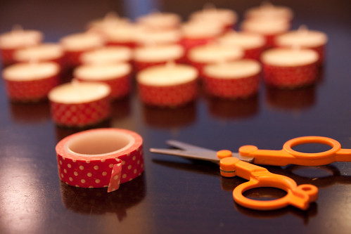 Washi tape and tealights