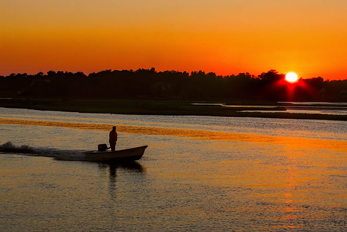 county city sunset beach boat nc surf north northcarolina carolina topsail waterway intracoastal onslow