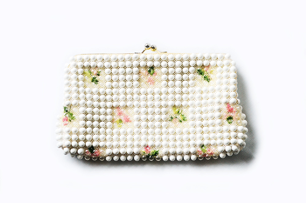 Vintage White and Floral Bubble Bead Clutch Purse