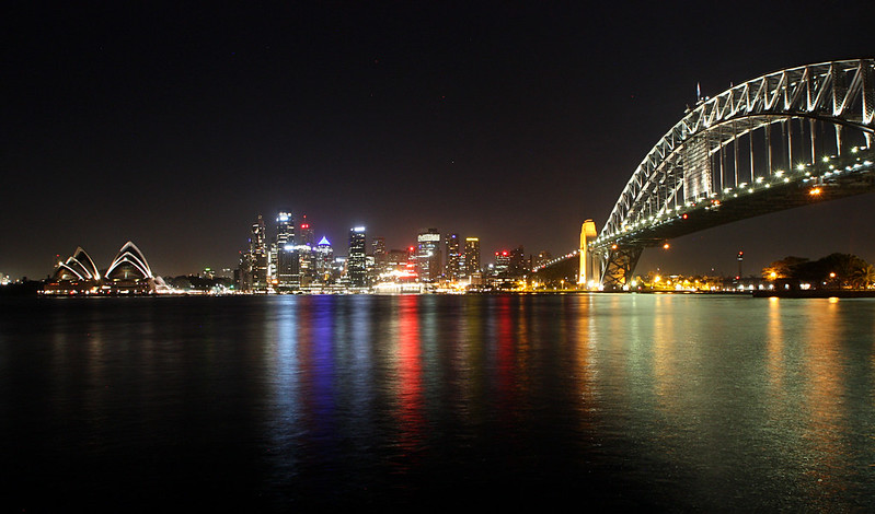 Sydney Bay Harbour Bridge by night