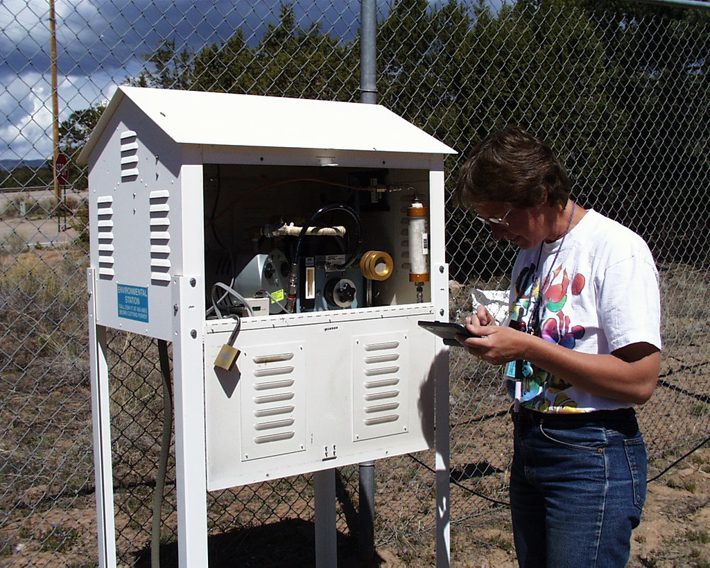 A typical airnet station with its housing open for sample changeout