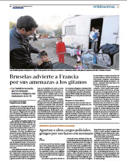 13i26 Bruselas advierte a Francia sobre amenazas a gitanos