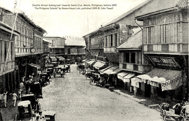 Escolta Street looking east towards Santa Cruz, Manila, Philippines, before 1899