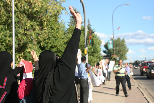 teambates posted a photo:	Egyptian-Canadians protest anti-Morsi crackdowns outside of the courthouse in Fort McMurray.