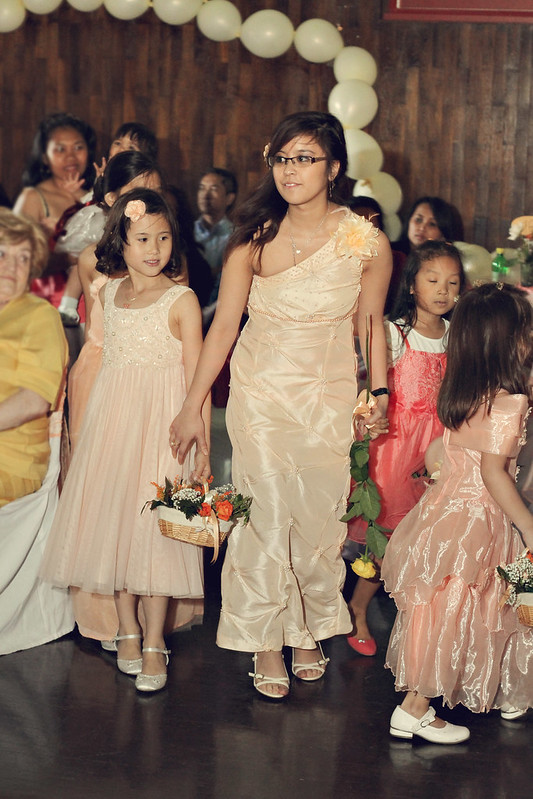 peach dress bridesmaids
