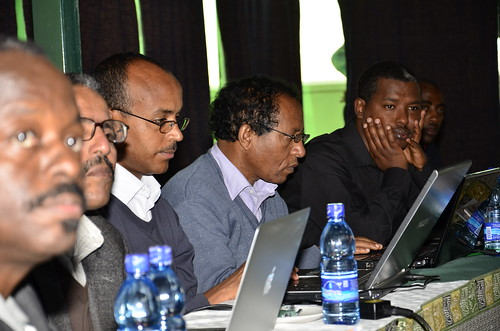 Project consortium members listen attentively during the monitoring and evaluation meeting at Eldoret on August 2012.