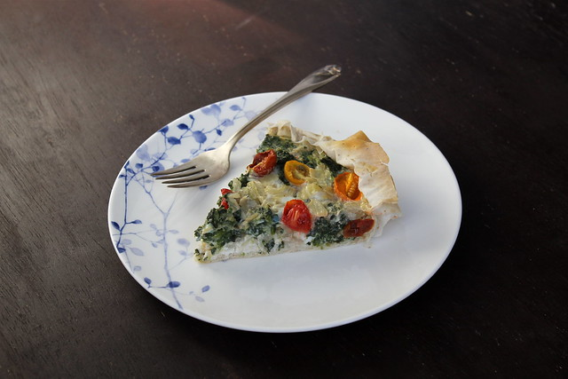 Spinach, Feta, and Tomato Quiche - vegetarian
