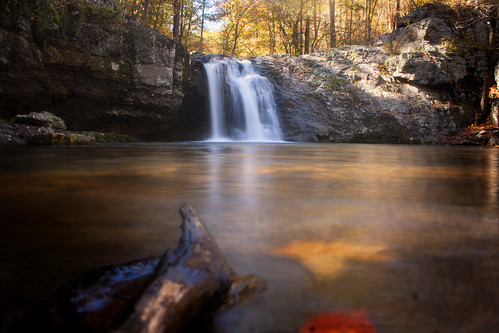 longexposure blue autumn light shadow red orange mountain fall yellow dark season waterfall trail change arkansas lakecatherine fallsbranch