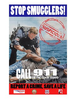 This poster, based on a submission to the Coast Guard Art Program, illustrates the 11th District Coast Guard's anti-smuggling and panga awareness campaign. (Graphics by Petty Officer 1st Class Adam Eggers)