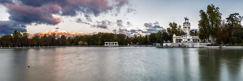 madrid parque light sky monument water del clouds sunrise reflections landscape dawn pond nikon long exposure alfonso cityscape monumento first panoramic retiro xii d800
