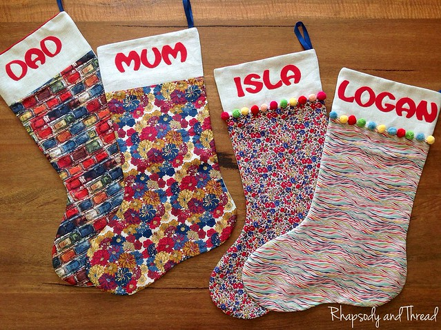 Liberty Fabric Christmas Stockings by Rhapsody and Thread