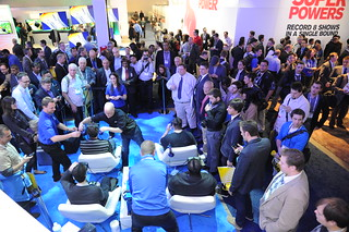 Crowd at an augmented reality demonstration in the Intel booth at CES2014.