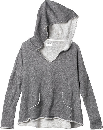 W - Easy Heart Raw Edge Hoodie - Black Haze
