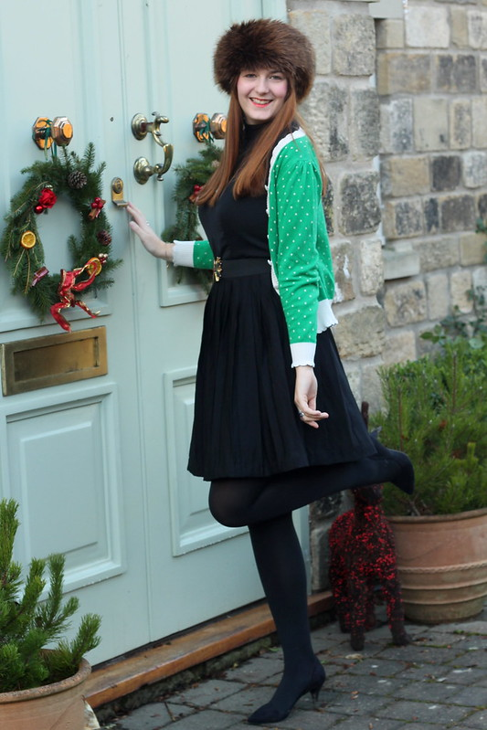 uk style blog, fur hat, lbd