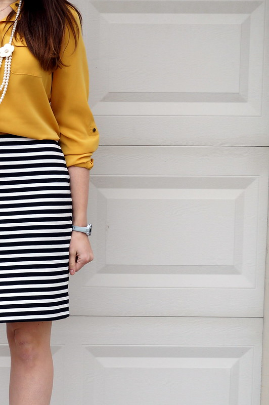 stripe skirt and yellow shirt