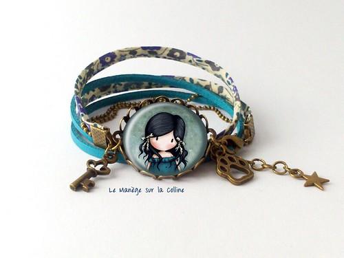 bracelet suédine bleue deux tours sur monture bronze La petite fille en bleu