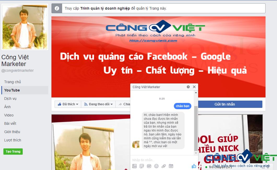 Cách hiển thị khi bật tin nhắn Trả Lời Nhanh trên Fanpage