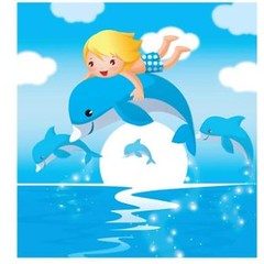 free vector Beautiful Creative Dolphin In The Sea Background