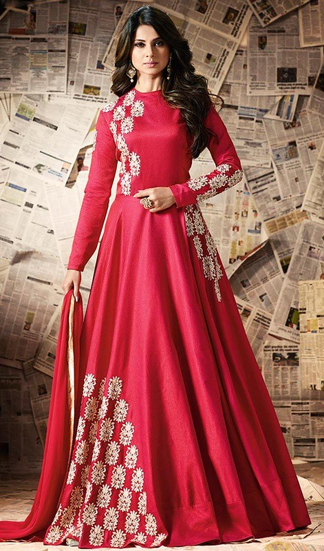 Pink Color Silk Floor Length Anarkali Churidar Suit