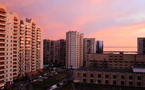 spb russia saintpetersburg sunset cityscape pink mild tender