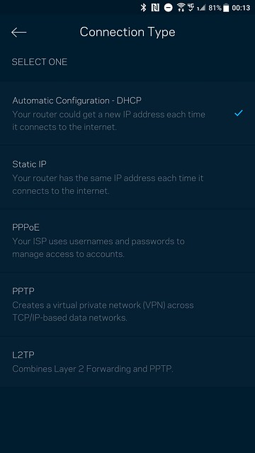 Velop App - Internet Connection Type
