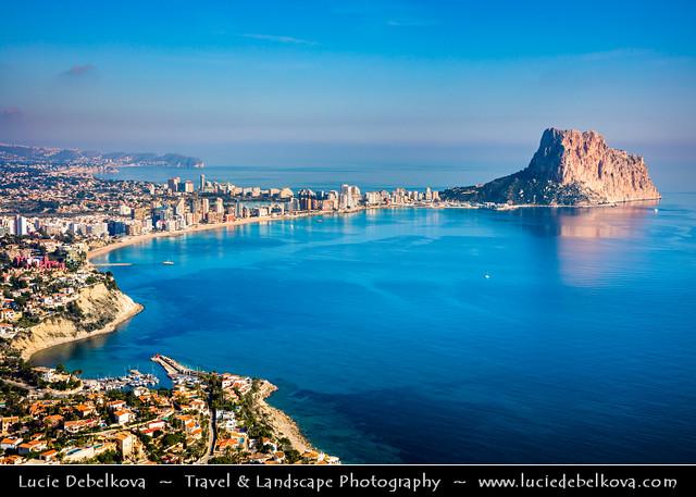 Spain - Calp -  Calpe's Peñón de Ifach Rock at shores of  Mediterranean Sea from above