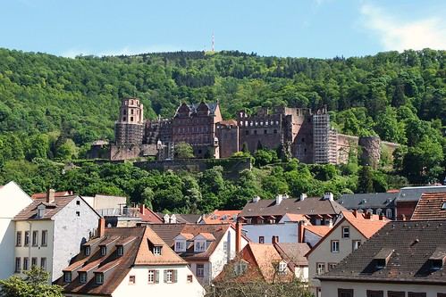view of Heidelberg Castle from the old town