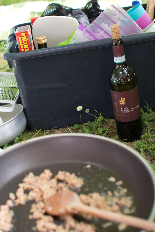 Cooking pasta again with tuna & drinking local vine