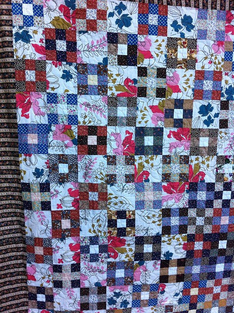Vintage Calico Nine Patch Quilt - Close Up