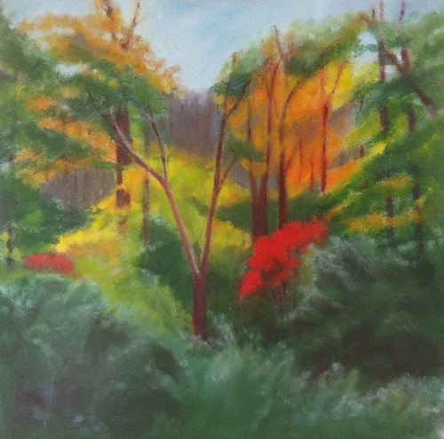 Red Leaves in the Woods (Oil Bar Painting as of June 6, 2013) by randubnick