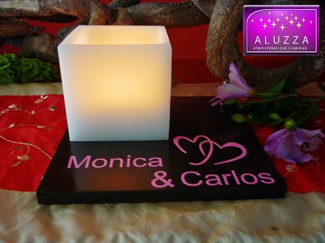 Centro de mesa para boda con pantallas de cera aluzza - Mesa de centro plegable ...