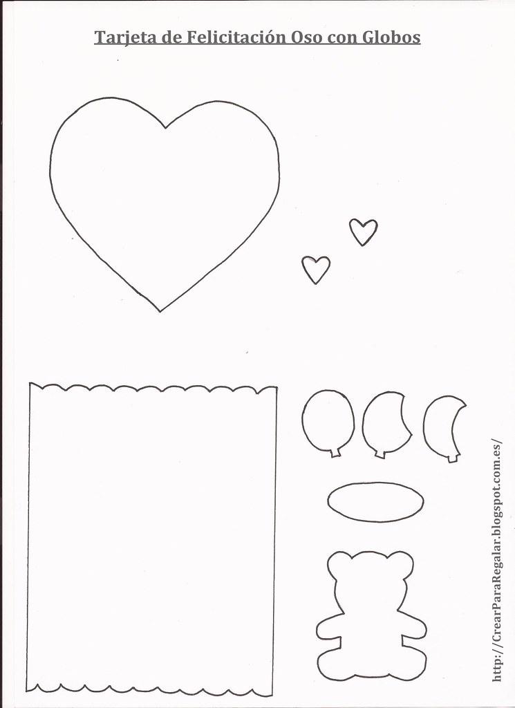 Plantilla tarjeta de felicitación oso con globos
