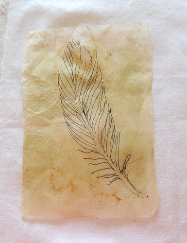 013 Pen and Ink Feather on a Tea Bag