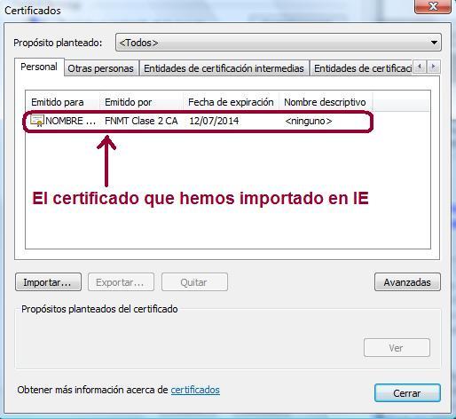 Certificado importado en IE
