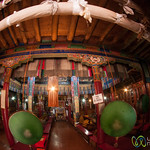 Buddhist Temple at Likir Monastery, Fisheye view - Ladakh, India