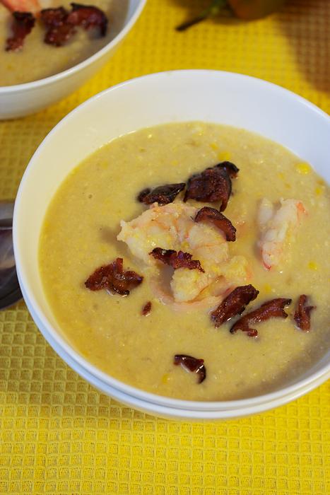 Bacon, Corn and Shrimp Chowder #SundaySupper