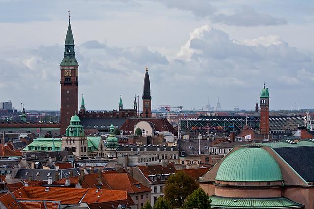 Vistas panorámicas de Copenhague desde la Torre redonda