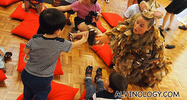 Asher hi-five with the gruffalo's child