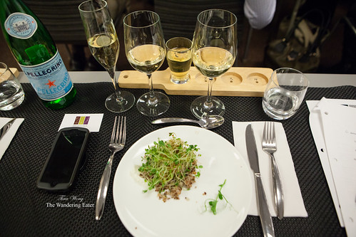 My assortment of alcoholic beverages and Toasted grain salad with labne and sprouts