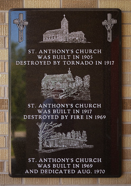 Saint Anthony Roman Catholic Church, in Glennon, Missouri, USA - plaque